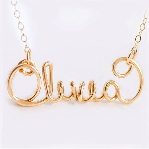 Name Necklace -Custom Silver Necklace, Gold Name Necklace, Personalized Name Necklace, Wire Necklace, Personalized Necklace, Custom Necklace