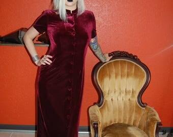 Vintage 90s red burgundy velvet button up dress grunge goth boho gypsy witch