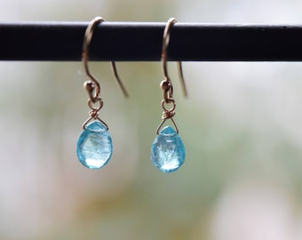 Apatite Earrings. Faceted Stones. Wire Wrapped Gold Fill Earrings. Faceted Apatite Dangle Earrings. Bride Earrings. Jewelry Gift Her