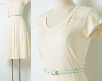 Vintage Ivory dress, 70s Dress, Vintage Cream Dress, Vintage Summer Dress, Lace Dress, Vintage Knit Dress - S/M