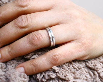Stacking Rings Sterling Silver Hammered Set of Two For Women or Men
