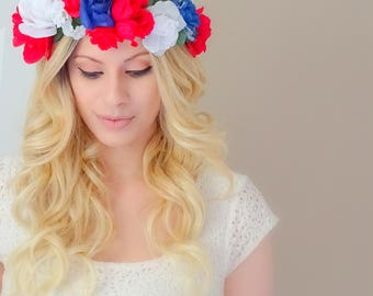 Red White and Blue Flower Crown, Floral Crown, Flower Headband, Fourth of July Flower Crown, Patriotic Headband, 4th Of July