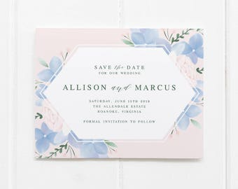 Blue Hydrangea Save the Date Postcard // Printable or Printed Save the Date Cards // Pink and Dusty Blue Save the Dates