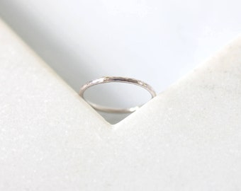 Hammered Ring • Unplated 9K White
