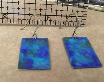 May the Water Move You - Hand Painted Metal Earrings