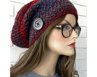 Slouchy Beanie Hat, Chunky Winter Hat, Women's Slouchy Hat, Slouch Hat, Hat with Button, Red  andTurquoise, stripes, gift for women