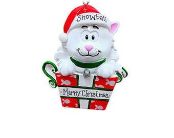 FREE SHIPPING White Cat Personalized Christmas Ornament / White Kitten Christmas Ornament / Pet Christmas Ornament