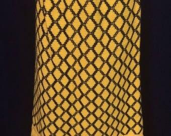 1970s Vintage  Lanvin maxi skirt Bright Yellow and Black checked crochet boho Hippie