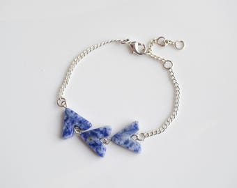 Blue Sodalite Gemstone Arrow Beaded Chain Bracelet
