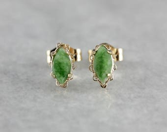 Jade Stud Earrings, Jade and Yellow Gold, Marquise Cut Jade, Anniversary Gift 52HYV9AQ-P