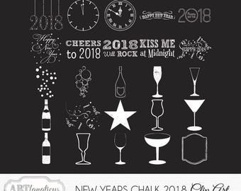 "Happy New Years Holiday Clipart ""NEW YEARS CHALK"" chalk bottles, chalkboard, celebration, 2018, champagne, photographers, scrapbookers"