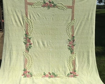 Chartreuse Chenille Bedspread, Vintage Cotton Yellow/Green Pink Pastel Flowers, 88 x 104