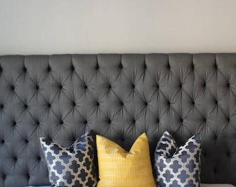 Grey Diamond Tufted Headboard - Wall Mounted - Upholstered Headboard
