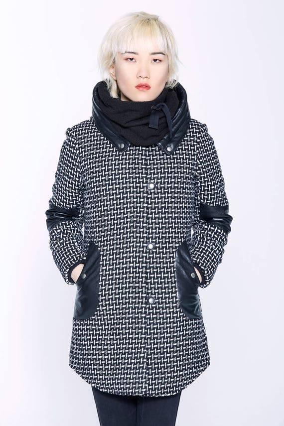 VLADIMIR - wool and leather winter coat with hood and softs pockets for womens - black tweed