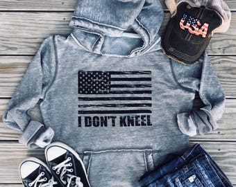 I Stand for the Flag, I Don't Kneel National Anthem Womens Hoodie, I Stand for the National Anthem Hoodie, American Flag