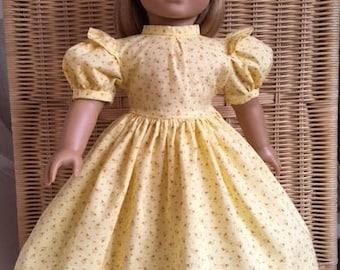 American Girl doll - Yellow cotton calico spring prairie dress