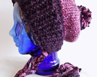 Slouchy Knit Hat - Womens Split Brim Hat with Braids and Pompom - Two Color Chunky Knit Hat - Big Pom Knitted Hat - Purple Winter Hat