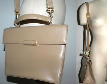 """Vintage Taupe Leather Kelly style  Handbag / Art Berg Courtoise / Structured Classic Purse Pocketbook / 10.5"""" x 8"""" x 4"""""""