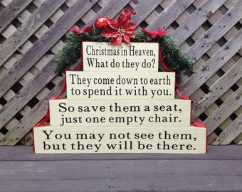 Christmas in Heaven with Chair, In Memory of Gift, Memorial Table Top Centerpiece, Loved Ones in Heaven, Save a Seat, Sympathy Gift