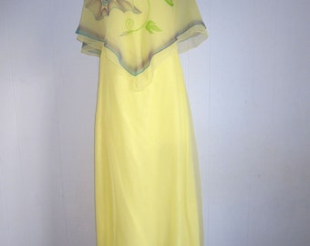 Vintage 70s Disco Dress Party Prom Formal Floral Print Yellow Retro XS S