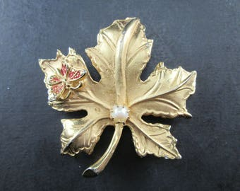 Vintage Marvella Gold Tone Maple Leaf and Red Butterfly Brooch Pin with Faux Pearl Signed