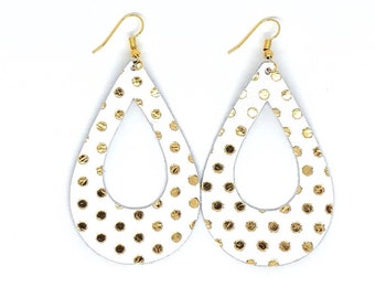 Leather Earrings / Genuine Leather / Polkadot Earrings / Cutout Teardrop