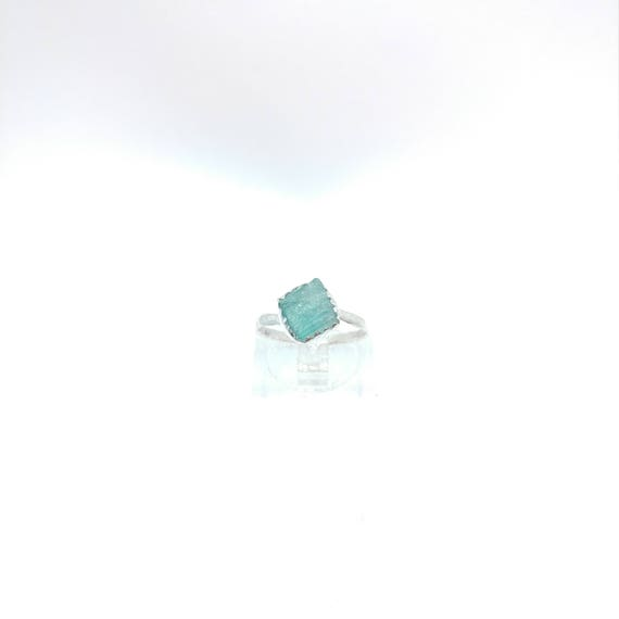 Blue Tourmaline Crystal Ring | Sterling Silver Ring Sz 5.5  | Raw Blue Tourmaline Ring | Raw Crystal Ring | Uncut Gemstone Ring | Teal Blue