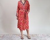 Paloma Picasso luxury style reversible cotton duster robe / size M-L-XL