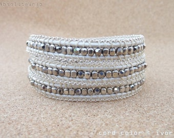 Silver plated beads triple wrap bracelet with crystal and chain trimming on leather cord, your choice of cord color (ivory or silver gray)