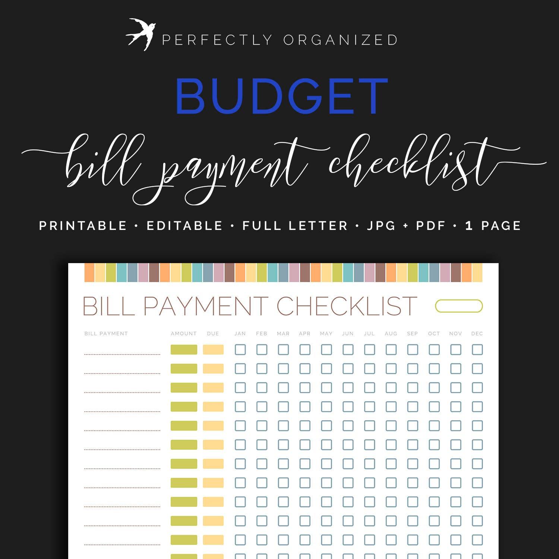 monthly bill payment tracker bills due date checklist payday