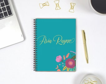 Bullet Journal Personalized Spiral Notebook, Personal Notebook Personalized for Her, Dot Grid Journals for Women, Graph Paper Journal A5