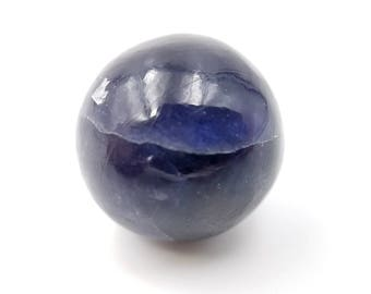 """Color Shifting Iolite Sphere - 0.71"""" 18mm - Pleochroic Water Sapphire Crystal Ball Goes From Blue to Orange - For Jewelry, Grids, Meditation"""