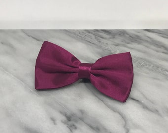Deep Plum Dog Bowtie for Wedding Pet Outfit  Wedding Dog Bow Tie Dog Collar