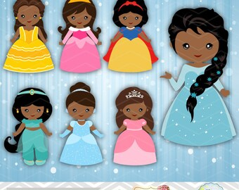 Digital African American Princess Clipart, Princess Clip Art, Fairy Tale Princess Clipart, Princess Clipart, African American Princess 0272