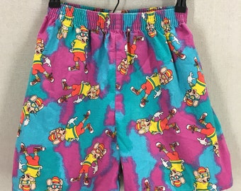 Vintage Chuck E Cheese Neon Color Print All Over Shorts Youth L /Women's XS