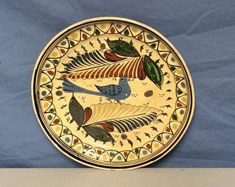 Folk Art, Tonala Tlaquepaque Pottery, Bird Plate Made in Mexico