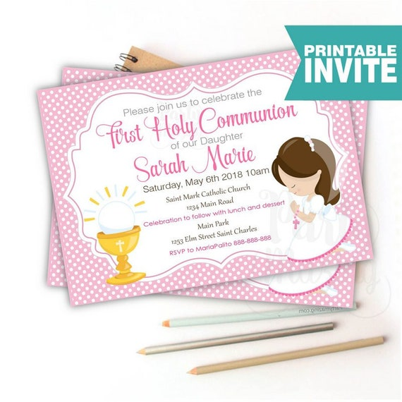 graphic relating to Printable First Communion Invitation referred to as Printable Initial Communion Invitation, Females Initial Communion