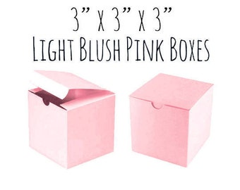 "Light Pink, Blush Pink Boxes 3 x 3 x 3"" Square, 5 to 20 Pack Of Wedding Favor Boxes, Gift, Pink Cupcake Box/Candy Box-Smooth Cardboard Box"
