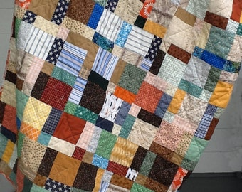 Quilt, Patchwork, Homemade, Twin Bed size, Scrappy Throw, Upcycled Reclaimed Sheet back, Eco Quilt, Ready to Ship, One of a Kind, Cotton