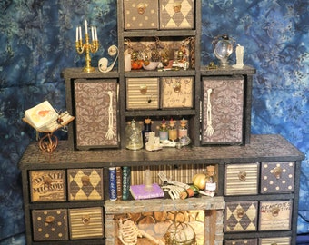 Bewitchin Apothecary Cabinet! Halloween Lights Up!Miniature Apothecary Jars