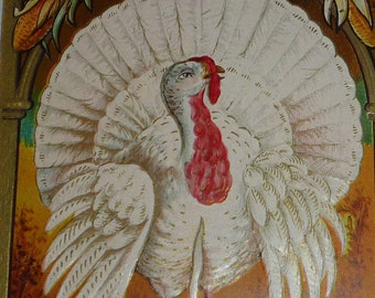 Beautiful White Turkey, Pumpkin and Corn Antque Thanksgiving Postcard