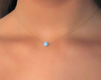 Blue Opal Necklace , 14K Gold Filled Opal Necklace ,  opal Ball Necklace , Opal Necklace , Choker Necklace , Dainty Opal Necklace