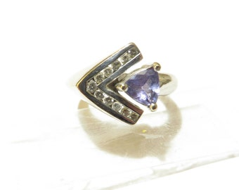Estate Art Deco 14k Trillion Cut Tanzanite Diamond Ring 7.1 Grams