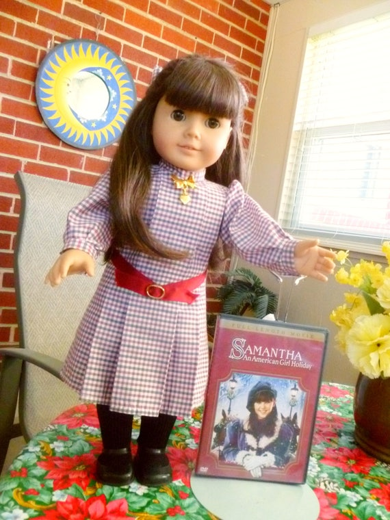 "1990s American Girl 18 "" Samantha doll ~retired~ Pleasant Company ~minty cond.~ w all original clothes & acces. + AMG Christmas Holiday DVD"