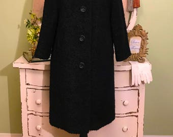 Heavy Boucle Coat, Black Nubby Winter Coat, Warm Coat, L-XL, Classy Black Coat, Vintage Winter Coat, Black Wool Coat, Women's Vintage Coat