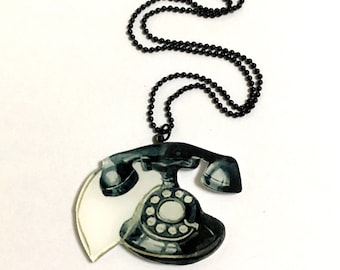 Retro Vintage Telephone, Batman telephone, Rotary phone, 1940 - 1950, Antique phone, Black, Antique, Cool, Cute Gift Necklace
