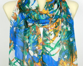 Floral Fashion Scarf Blue Fabric Scarf Women Printed Shawl Unique Boho Scarf Spring Accessories Gift for Women Christmas Gift