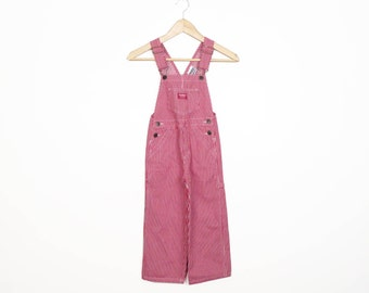 Kids Osh Kosh Red Pinstripe Denim Overalls Size 4 Year Old