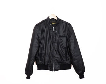 Vintage 80s Quilted Bomber Style Jacket Size M