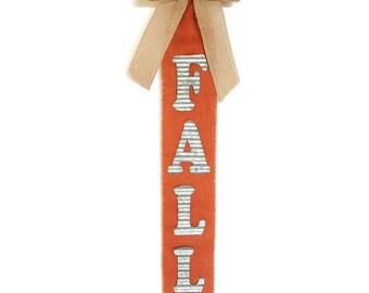 FALL DOOR HANGER Rustic Door Hanger Welcome Sign Welcome Home Orange Burlap Door Hanger Welcome Fall Bunting Autumn Banner Fall Colors